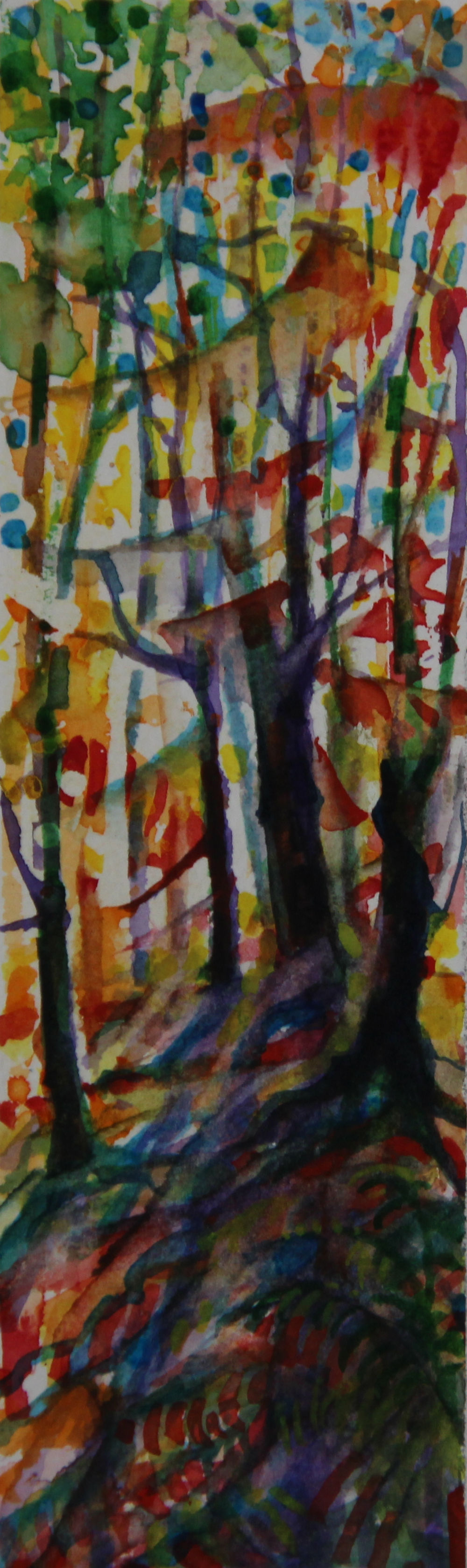 Autumn Forest Scene 04, about 6H x 2W inches watercolors on 140 lb cold pressed