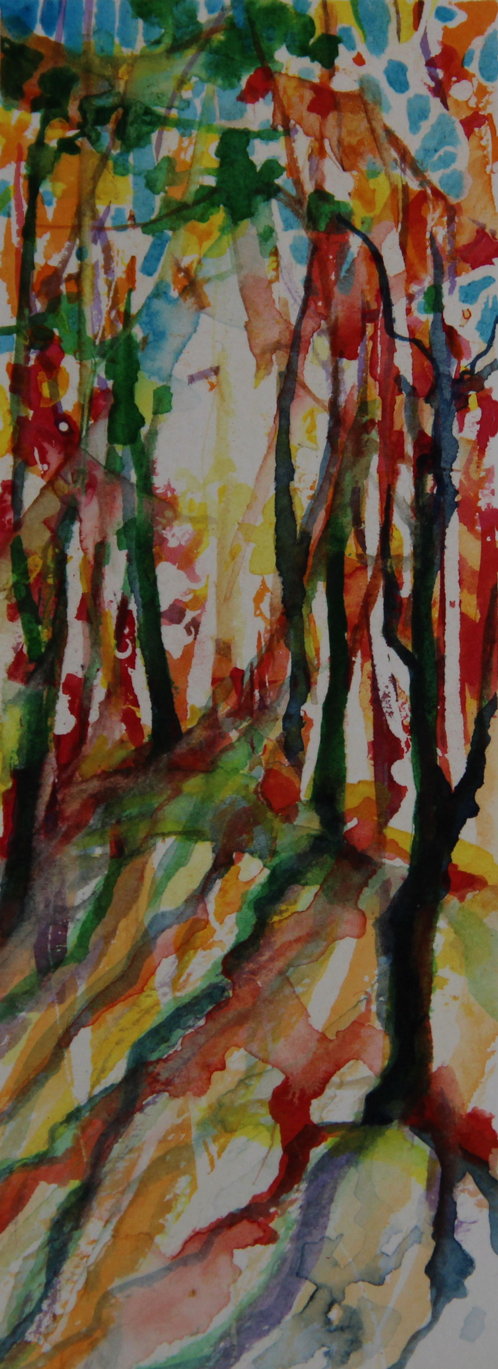 Autumn Forest Scene 03, about 6H x 2W inches watercolors on 140 lb cold pressed