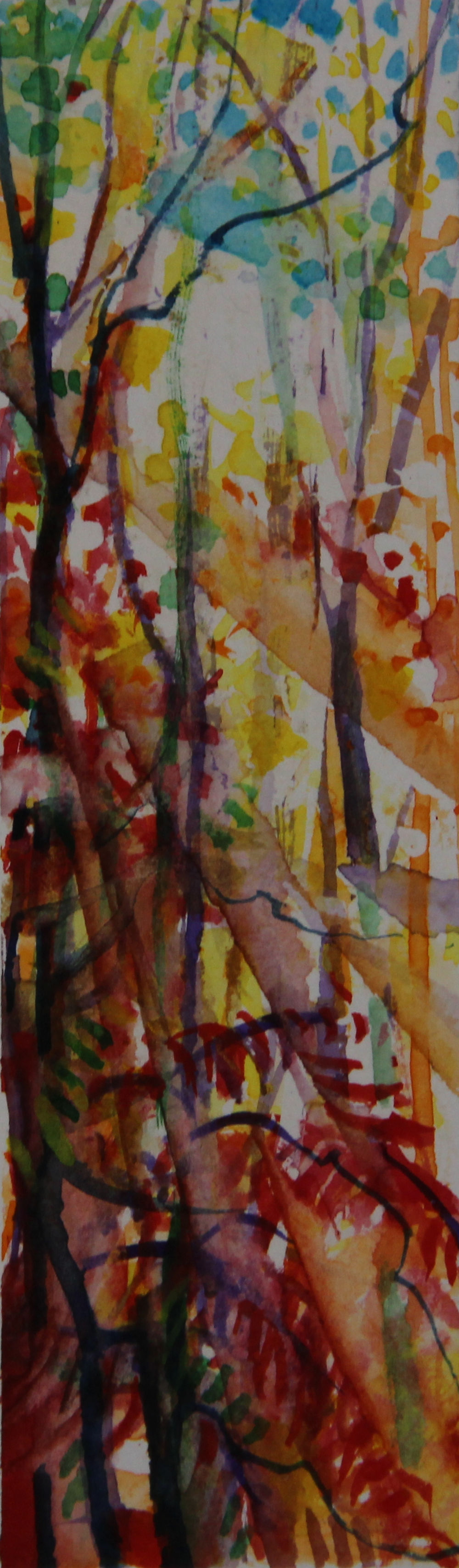 Autumn Forest Scene 02, about 6H x 2W inches watercolors on 140 lb cold pressed