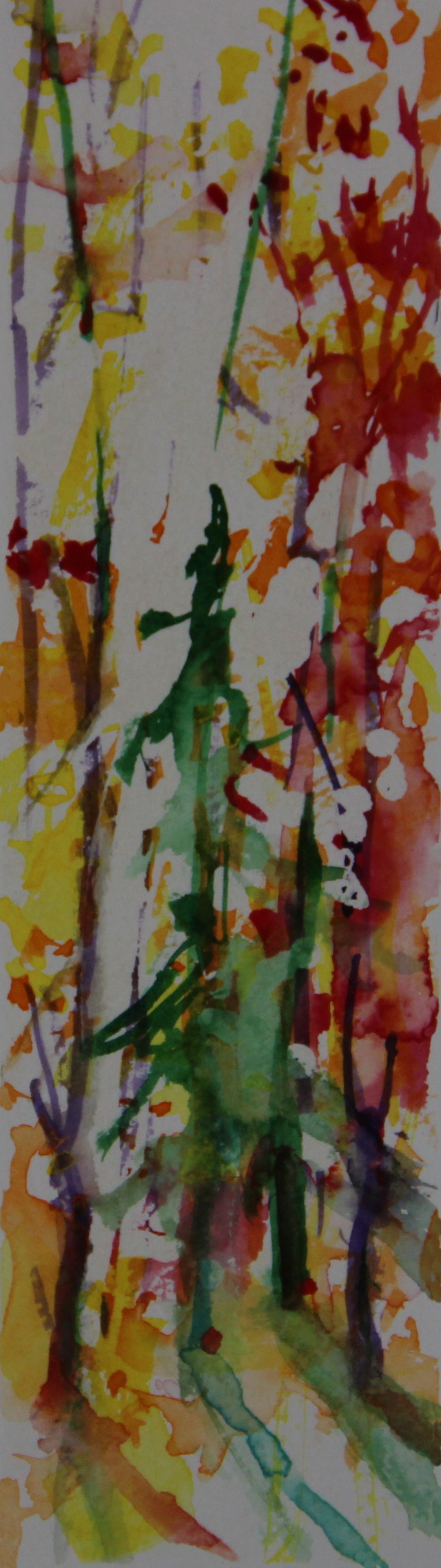 Autumn Forest Scene 01, about 6H x 2W inches watercolors on 140 lb cold pressed