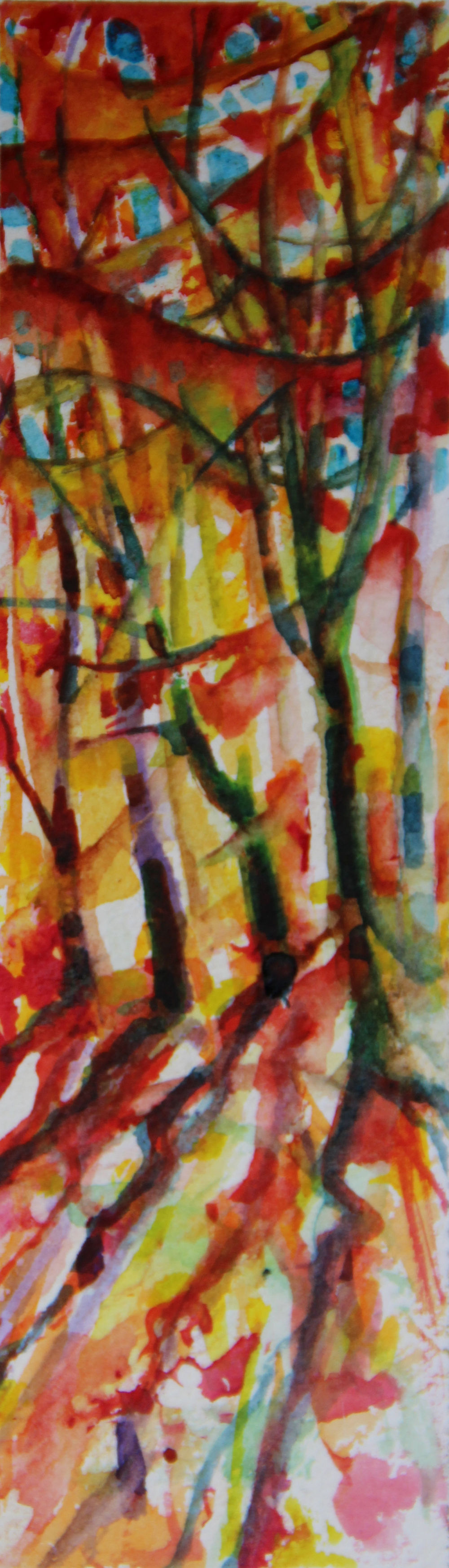 Autumn Forest Scene 07, about 6H x 2W inches watercolors on 140 lb cold pressed