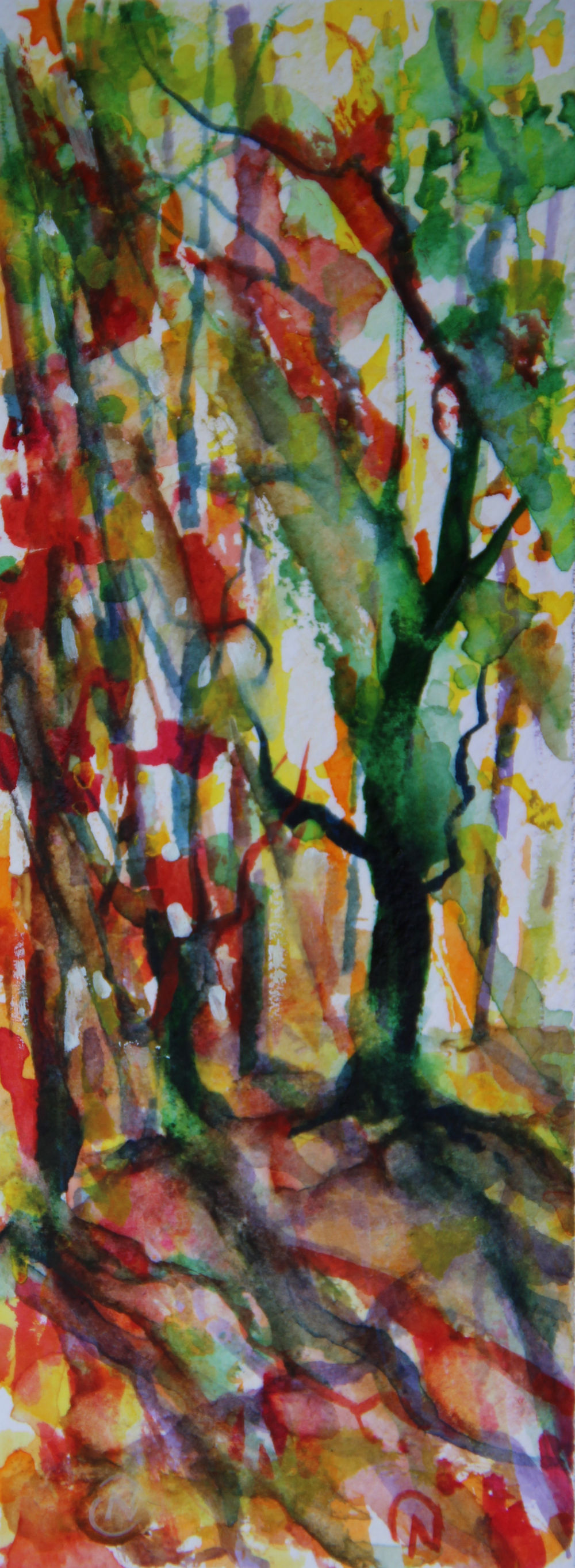 Autumn Forest Scene 09, about 6H x 2W inches watercolors on 140 lb cold pressed