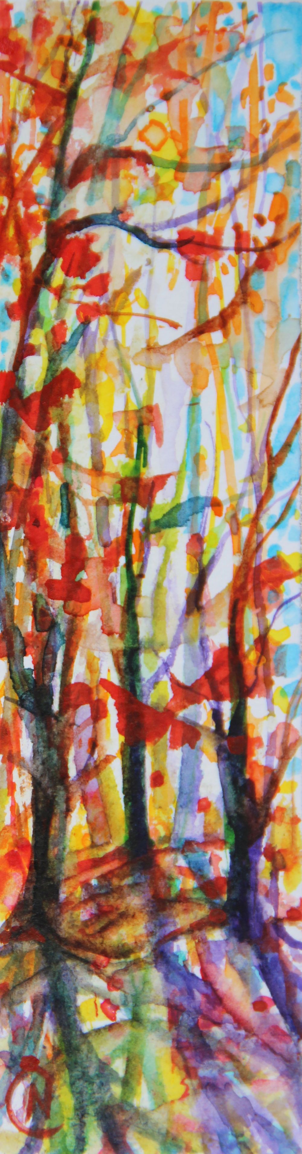 Autumn Forest Scene 10, about 6H x 2W inches watercolors on 140 lb cold pressed