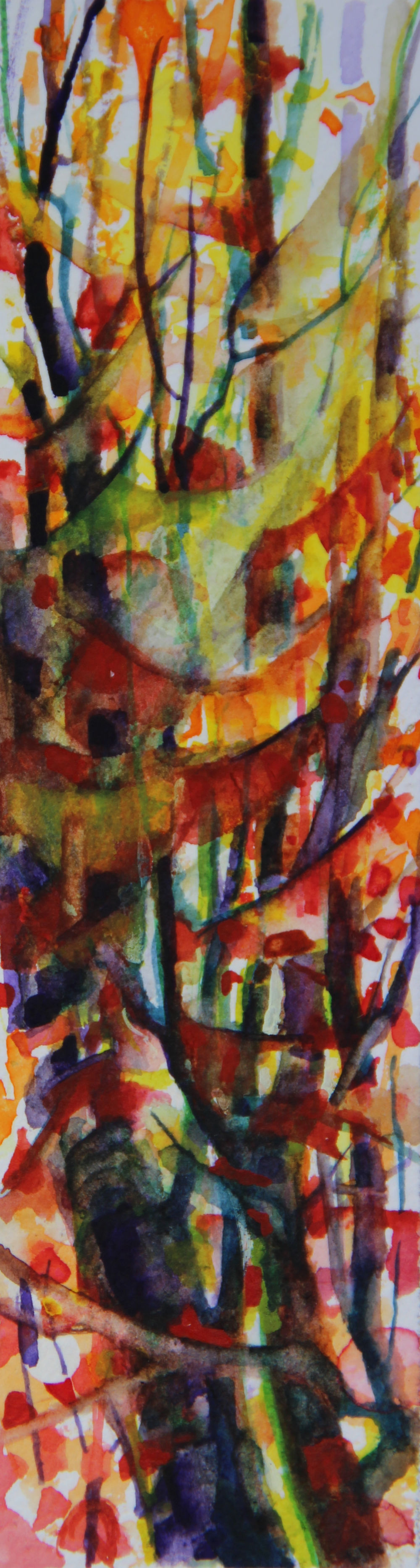 Autumn Forest Scene 11, about 6H x 2W inches watercolors on 140 lb cold pressed