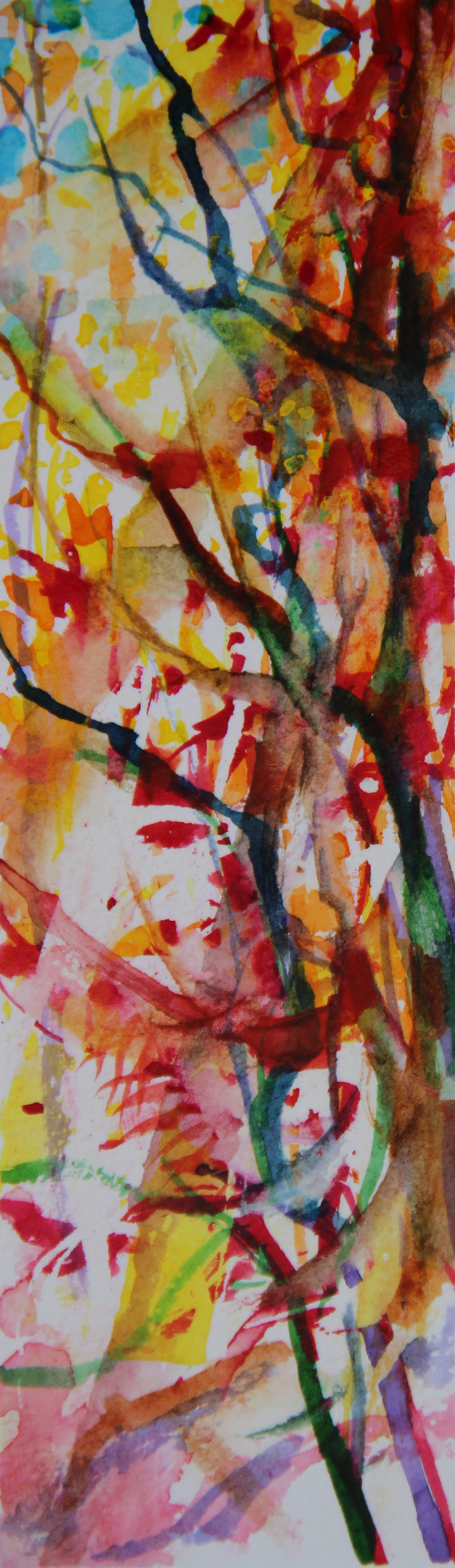 Autumn Forest Scene 12, about 6H x 2W inches watercolors on 140 lb cold pressed