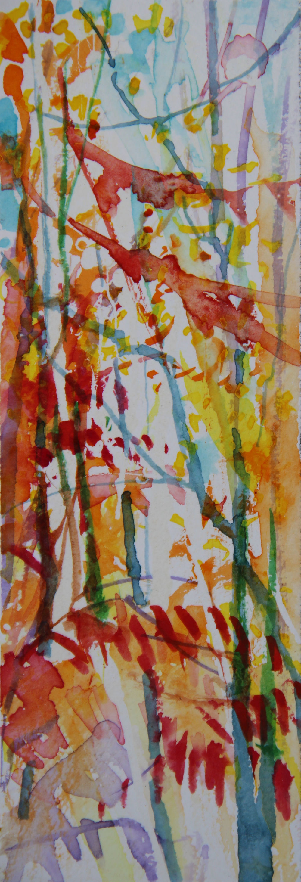 Autumn Forest Scene 13, about 6H x 2W inches watercolors on 140 lb cold pressed