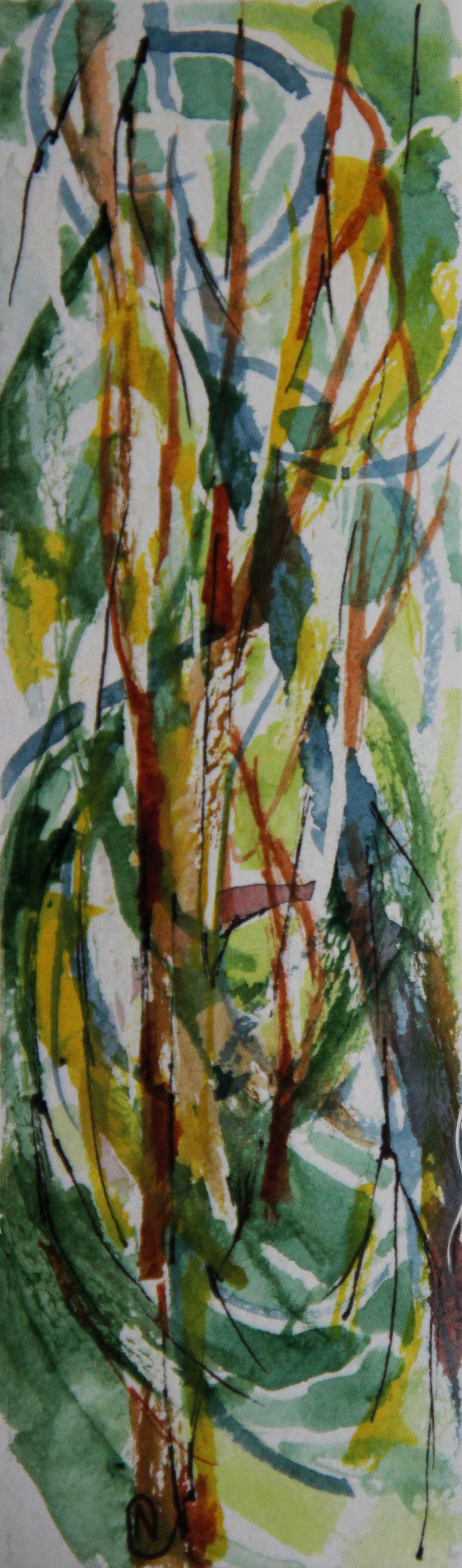 Summer Forest Fantasy 02, 6H x 2W inches watercolors