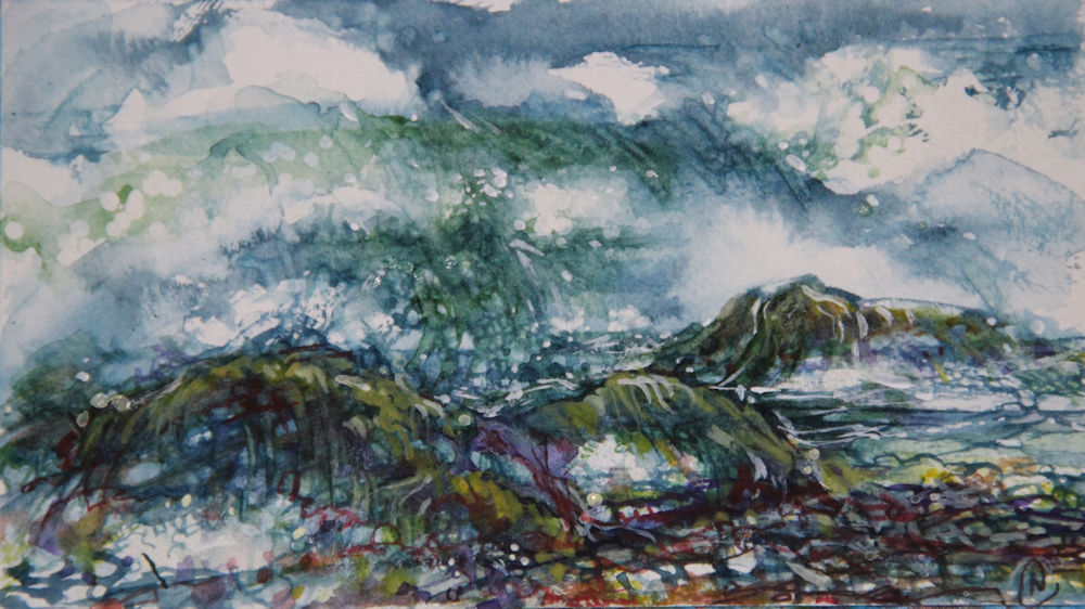 Stormy Oregon Coast 01, 6W x 4H inches watercolors