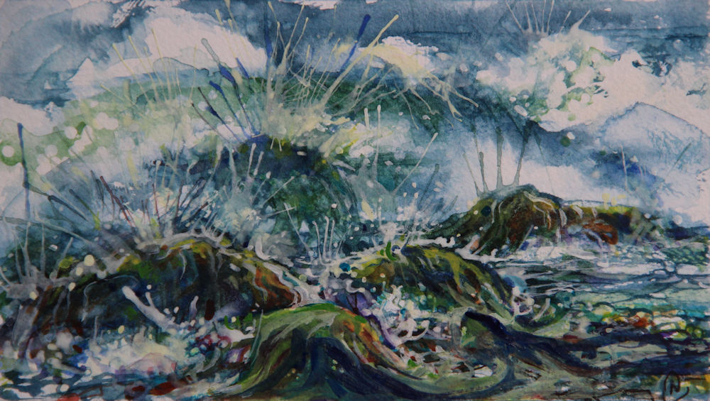 Stormy Oregon Coast 02, 6W x 4H inches watercolors